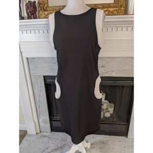 Vintage 90s Black White Mod Sheath Dress Large